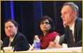 Sania Nishtar, the opening plenary speaker at a level satellite meeting during the International AIDS conference hosted by WHO and UNAIDS. Washington on July 22. Other speakers included Dr. Margaret Chan, Director General of WHO and Richard Horton.