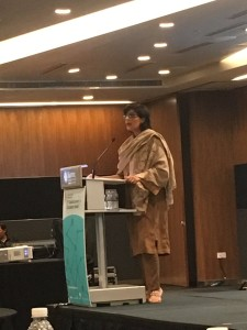 Dr Sania Nishtar givng a keynote speech in Singapore_ during the Second Circulatory Summit