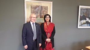 Dr Sania Nishtar with Ambassador Neris Germanas in Lithuania during the WHO DG Election Campaign 2017