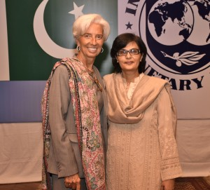 Dr Sania Nishtar with Chritine Lagarde in Islamabad