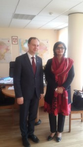 Dr Sania Nishtar with Mr. Aurelijus Veryga_ Minister of Health of Lithuania in Vilnius_ during the WHO DG Election Campaign 2017