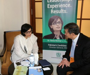 Dr Sania Nishtar with the Minister of Health of Thailand in the WHO DG Election campaign office set up in Sri Lanka