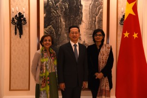Dr Sania Nishtar with the Pakistani and Chinee Permnent Represenatives to the UN in Geneva_ 2016