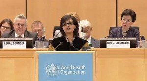 Dr. Sania Nishtar addressing the 70th World Health Assembly as one of the 3 shortlisted nominees for WHO Director General_ 2017