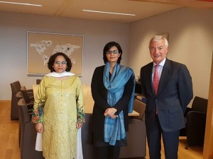 Dr. Sania Nishtar and Pakistan Ambassador in the Ministry of Foreign Affairs in Brussels during the WHO Director General election campaign_ 2017