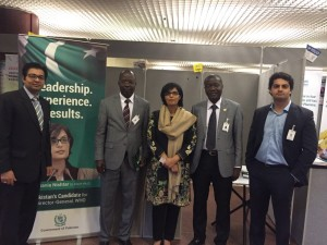 Dr. Sania Nishtar campaigning in Addis Ababa during the WHO AFRO regional committee meeting during the WHO Director General election campaign_ 2017