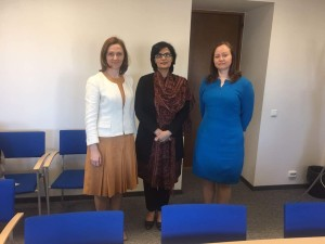 Dr. Sania Nishtar canvassing in Estonia during the WHO Director General election campaign_ 2017