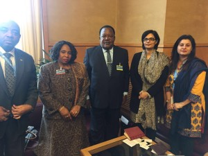 Dr. Sania Nishtar canvassing in Geneva during the WHO Director General election campaign 2017