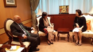 Dr. Sania Nishtar in the Ministry of Foreign Affairs of Thailand in Bangkok during the WHO Director General election campaign_ 2017.