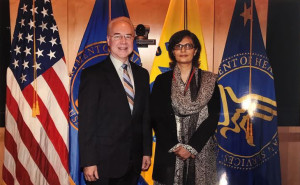 Dr. Sania Nishtar meeting Secretary Tom Price in Washington during the WHO Director General election campaign -2017