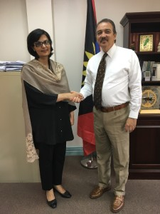 Dr. Sania Nishtar meeting the Minister of Foreign Affairs of Antigua and Barbuda during the WHO Director General election campaign_ 2017.