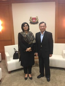 Dr. Sania Nishtar meeting the Minister of Foreign Affairs of Singapore during the WHO Director General election campaign_ 2017.
