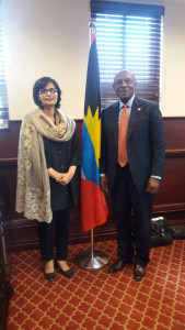 Dr. Sania Nishtar meeting the Minister of Health of Antigua and Barbuda_ Molwyn Joseph during the WHO Director General election campaign -2017