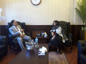 Dr. Sania Nishtar meeting the Minister of Health of Egypt during the WHO Director General election campaign_ 2017