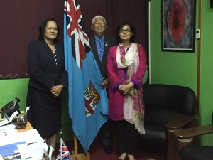 Dr. Sania Nishtar meeting the Minister of Health of Fiji in Suva during the WHO Director General election campaign_ 2017
