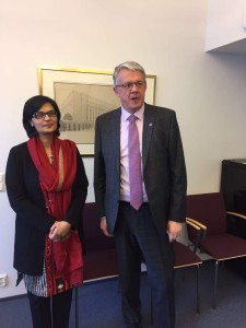 Dr. Sania Nishtar meeting the Minister of Health of Finland in Helsinki during the WHO Director General election campaign_ 2017