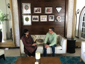 Dr. Sania Nishtar meeting the Minister of Health of Grenada Nicholas Steele during the WHO Director General election campaign_ 2017