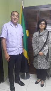 Dr. Sania Nishtar meeting the Minister of Health of Jamaica during the WHO Director General election campaign_ 2017
