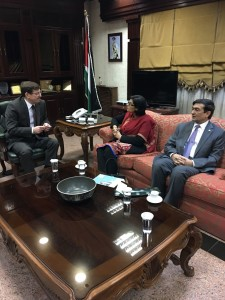 Dr. Sania Nishtar meeting the Minister of Health of Jordan in Amman during the WHO Director General election campaign_ 2017.