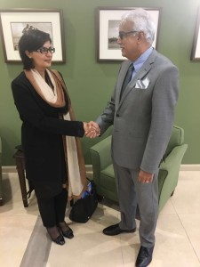 Dr. Sania Nishtar meeting the Minister of Health of Trinidad and Tobago during the WHO Director General election campaign_ 2017.