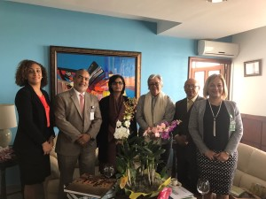 Dr. Sania Nishtar meeting the Minister of Health of the Dominican Republic in Santo Domingo during the WHO Director General election campaign_ 2017