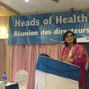 Dr. Sania Nishtar speaking at a Candidates Forum in Fiji during the WHO Director General election campaign -2017