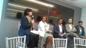 Dr. Sania Nishtar speaking on a panel at the World Economic Forum Impact Summit in New York on the sidelines of UNGA 2017