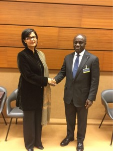 Dr. Sania Nishtar speaking to African leaders in Geneva during the WHO Director General election campaign_ 2017