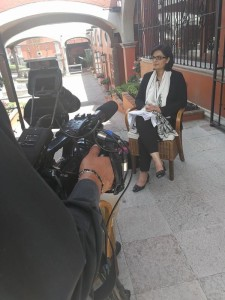 Dr. Sania Nishtar speaking to a journalist in Mexico during the WHO Director General election campaign_ 2017