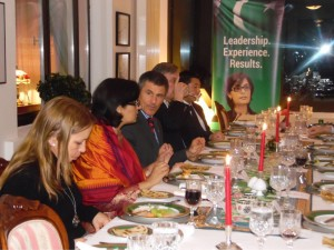 Dr. Sania Nishtar speaking to permanent representatives in Geneva over dinner at the Pakistan house during the WHO Director General election campaign_ 2017