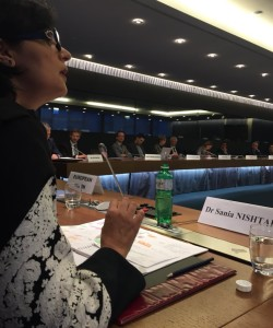 Dr. Sania Nishtar speaking to the EU Permanent representatives in Geneva during the WHO Director General election campaign_ 2017