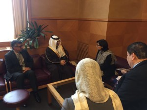 Dr. Sania Nishtar speaking to the Saudi delegation in Geneva during the WHO Director General election campaign_ 2017