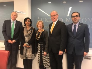 Dr. Sania Nishtar visiting the UN foundation in Washington during the WHO Director General election campaign_ 2017