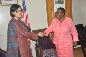 Dr. Sania Nishtar with the minister of Foreign Affairs of Liberia in Monrovia during the WHO Director General election campaign_ 2017