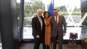 Dr. Sania Nishtar with the other two Shortlisted candidates_ Tedros Adanhom and David Nabarro in Quito during the WHO Director General election campaign 2017