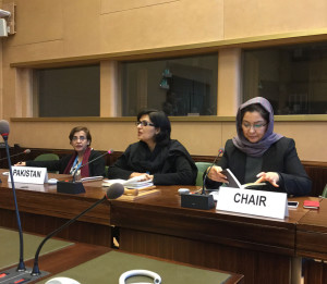Sania Nishtar addresses an OIC meeting in Geneva, January 2017
