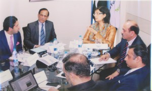 Sania Nishtar, Minister of IT at chariing a meeting at the Ministry of ICT and Telecom, 2013