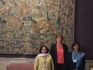 Sania Nishtar and Paksitani Ambassador to Belgium meeting a senator in Brussels