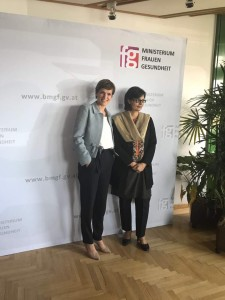 Sania Nishtar at the Ministry of Health of Austria with the minister of health during the WHO DG election campaing 2017