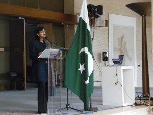 Sania Nishtar giving a keynote talk at the United Nations Women Guild at the Palais d Nations in Geneva, November 2016