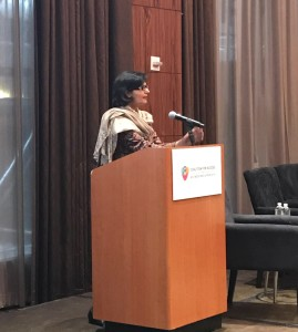 Sania Nishtar giving her keynote speech at the launch of the NCD Access Coailition in New York September 2017