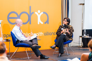 Sania Nishtar giving the keynote address at the 2017 meeting of the Europen Public Health Alliance in Brussels