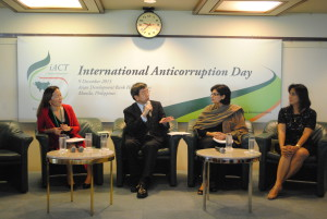 Sania Nishtar in Manila making the key note speech at global anti corruption day with President ADB