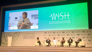 Sania Nishtar on a panel at the 2016 WISH Summit