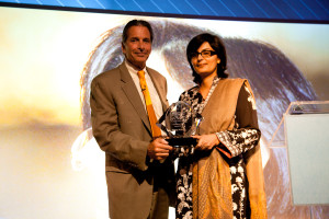 Sania Nishtar recieving Global Innovation Award in New York
