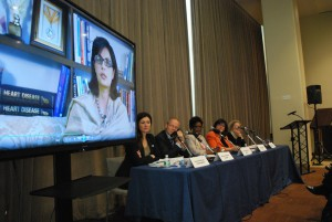 Sania Nishtar speaking about nutrition at the CSW event in New York 2016