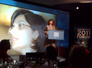 Sania Nishtar speaking after recieving the global Innovation Award