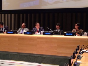 Sania Nishtar speaking at the UN in New York at the NCDs review meeting in July 2014