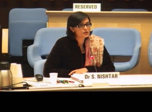 Sania Nishtar speaking at the WHO Candidiates Forum, November 2016