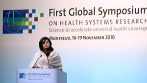 Sania Nishtar speaking at the plenary session of the First Global Symposium on health systems research in Montreux